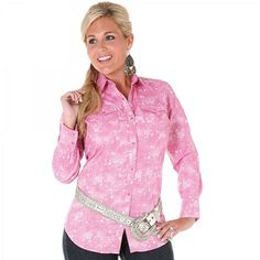 Womens Wrangler Pink Print Long Sleeve Snap Shirt