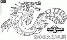 Colorear Mosasaur. Invizimals La otra dimensión. Auténtico monstruo marino con poderosas aletas y fuertes mandíbulas