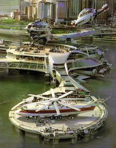 "armchair-aviator: "" Heliport by John Berkey, conceptual artist behind the Death Star. Futuristic City, Futuristic Architecture, Online Architecture, Fantasy City, Sci Fi Fantasy, Sci Fi Stadt, Ville Durable, Art Science Fiction, John Berkey"