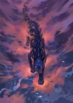 Clouded Leopard 2 by sandara on DeviantArt Big Cats Art, Cat Art, Mythical Creatures Art, Magical Creatures, Clouded Leopard, Fantasy Wolf, Warrior Cats Art, Tiger Art, Beautiful Wolves