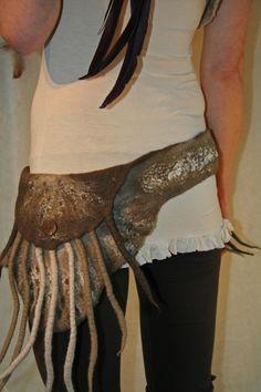 Secret Spiral Felt Belt with Fringe in Merino Wool by SolMundoArt