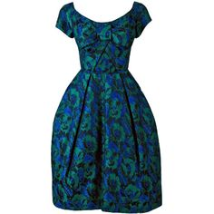 1950's Michael Novarese Blue Green Floral Garden Print Silk Party... ($15) ❤ liked on Polyvore featuring dresses, vintage dresses, green dress, silk dress, floral cocktail dress and blue vintage dress