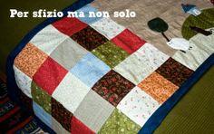 Cucito creativo - fondo letto in lino con paesaggio appliquè