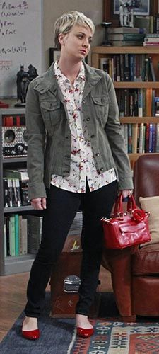 'Chamberlain' Jacket by Rag & Bone (worn on a number of shows) Penny's white floral shirt, green jacket and red bag on The Big Bang Theory.  Outfit Details: http://wornontv.net/43284/ #TheBigBangTheory / Mini MAB Satchel in Red by Rebecca Minkoff /  'Brett' Floral Silk Blouse in Nature White by Equipment