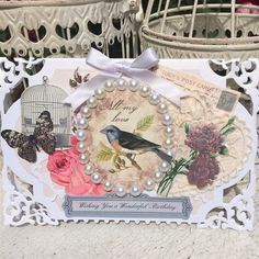 Shabby chic style card. | docrafts.com Card made using Hunkydory Antique Chic products and Spellbinders Enchanted Labels does.