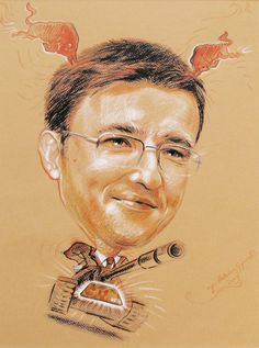 "Caricature ""Tank"", colored pencils, 30x50cm, author - #Malwina #Gruszecka, www.karykatury.art.pl, #portrait #caricature #drawing"