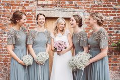 Bridesmaid in beaded vintage style Virgos Lounge Dresses from ASOS -  Image by Lemonade Pictures - A Lace Raimon Bundo Wedding Dress & L.K.Bennet Shoes for a traditional English country wedding with Beaded Virgos Lounge ASOS Bridesmaid Dresses & Navy REISS Groomsmen suits.