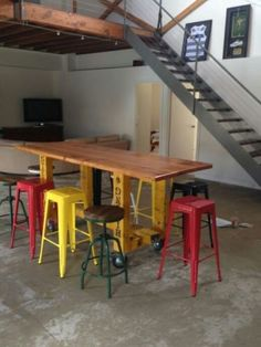 vintage-industrial-Table-cafe-bar-bench-Counter