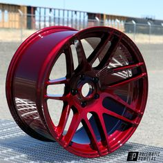 The rich reds of Clear Vision over Illusion Cherry really shine in the sunlight on this custom red wheel using Prismatic Powders powder coating colors. Miata Wheels, Car Wheels, Rims For Cars, Rims And Tires, Custom Wheels, Custom Cars, Muscle Car Rims, E46 Touring, Bmw Red