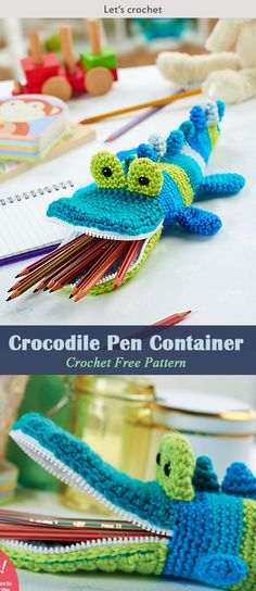 Crocodile Pen Container Crochet Free Pattern