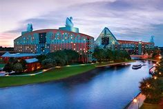 Step out of the Dolphin Hotel and step on a taxi boat to ride across the harbor to Disney World to ride to your hearts content! Ride it back of the evenings to swim in one of many pools or enjoy fireworks from your hot tub:)