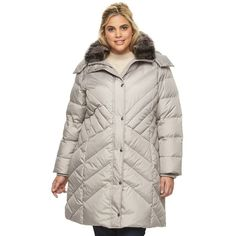 Plus Size Towne by London Fog Hooded Down Puffer Parka found on Polyvore featuring polyvore, plus size women's fashion, plus size clothing, plus size outerwear, plus size coats, light grey, plus size, hooded coat, long parka coats and parka coat