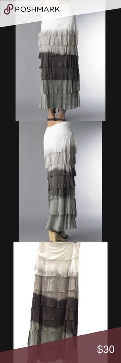 Tempo Paris Silk Maxi Skirt Tempo Paris Silk Maxi Skirt Dip Dye Sage features a wide stretch jersey waistband with layers of silk throughout the skirt.  * 20% Silk 80% Viscose * Hand wash cold  Skirt is in great pre-owned condition. Tempo Paris Skirts Maxi