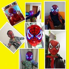 Kids LED Flashing Facial Persona Wear Spiderman Role Play Face Masks Halloween Christmas Gifts