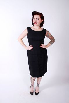 Vintage 60s Cocktail Dress Black Chiffon Early by stutterinmama, $74.00
