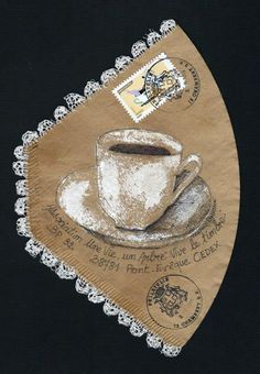 Coffee Grinder Jammed near Coffee Cake Hostess for Coffee Meets Bagel Logo Coffee Filter Art, Coffee Filter Crafts, Tea Bag Art, Tea Art, Mail Art Envelopes, Art Postal, How To Make An Envelope, Decorated Envelopes, Hand Made Greeting Cards