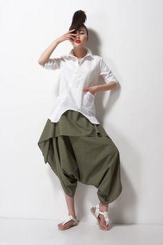 linen irregular shirt white shirt linen shirt white by dongli