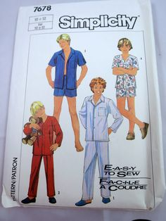 Boys Pajama Pattern Front button Closing by BonniesVintageAttic