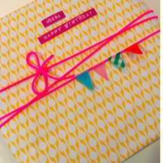 with washi tape bunting