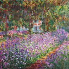 Jardín de Giverny.  El vivo color de las flores realza la hermosura del cuadro.