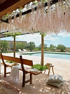 Gorgeous at Hotel Son Bernadinet, Mallorca Outdoor Spaces, Outdoor Living, Outdoor Decor, Outdoor Life, Porches, Casa Hotel, Wisteria Pergola, Estilo Tropical, Balcony Plants