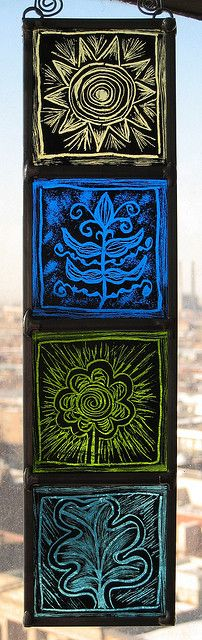 Doodles | stained glass by Moragh Chisholm Stained Glass Paint, Stained Glass Windows, Glass Engraving, Group Projects, Art N Craft, Sgraffito, Traditional Paintings, Beveled Glass, Glass Etching