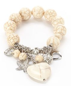 White Turquoise Heart Charm Stretch Bracelet