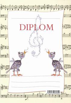 dětský diplom formátu A5 s hudebním motivem