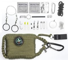 A2S Survival Gear Paracord 30pcs Emergency Kit First Aid Kit and Emergency Food finding Fishing Gear and Baits Compass Emergency Whistle Fire Starter set Survival Knife and more ** Check out this great product.