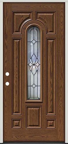 Center Arch Pre-finished Oak Fiberglass Prehung Exterior Door Unit with Sidelites Wooden Main Door Design, Double Door Design, Internal Wooden Doors, Wooden Front Doors, Exterior Doors, Entry Doors, Barn Doors, Iron Front Door, Front Entry