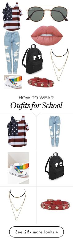 """late independence day"" by silveranddre on Polyvore featuring Topshop, Converse, Ray-Ban, Lime Crime and RED Valentino"