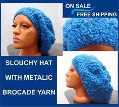 fe4371cd Slouchy beanie hat with metalic yarn, Knit slouchy hat, Slouchy Knit hat  women,Crochet slouchy hat,Crochet winter hat, Slouchy hat teen girl