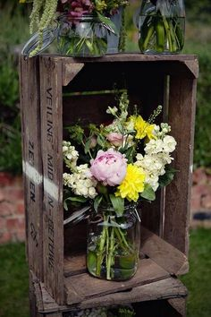 old crates and mason jars, flower display