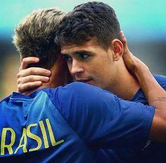 Neymar and Oscar Neymar Pic, Football Is Life, Team Player, Fc Barcelona, Cristiano Ronaldo, Make Me Smile, Brazil, Soccer, Couple Photos