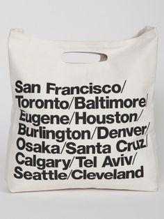 Cabas imprimé villes en coton denim bull tissé | Boutique en ligne American Apparel