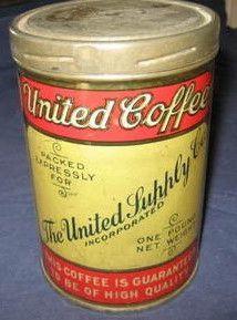 United Coffee Coffee Stands, Coffee Tin, Vintage Tins, Vintage Coffee, Lettering, Canning, Food, Coffee Mug, Essen