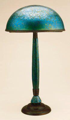 Beautiful color & texture. Lamp / c. 1905 / Leopold Bauer; Johann Loetz-Witwe Glassworks /  Minneapolis Institute of Arts