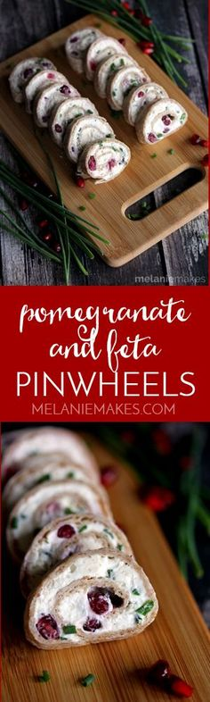 These gorgeous Pomegranate and Feta Pinwheels are speckled with holiday color thanks to pomegrante arils and chives and take just minutes to prepare. These five ingredient appetizers will have you party ready in no time!