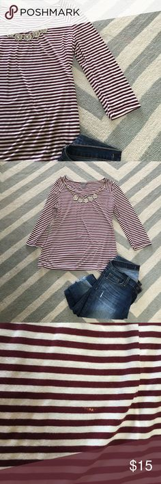 Ann Taylor striped quarter sleeve shirt Ann Taylor maroon and cream striped quarter sleeve shirt it does have a pinhead sized Bleach mark on one of the stripes as shown in picture but is hardly noticed when on Ann Taylor Tops