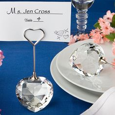Add Bling to your tables with 100 Crystal Heart Bling Wedding Place Card Holders - Affordable Elegance Bridal -