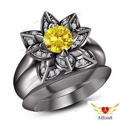 2 CT Round Cut Diamond & Sapphire 925 Silver Women's Bridal Engagement Ring Set #Affoin8
