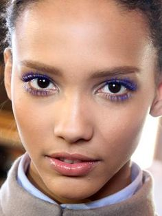 Fall beauty tren: Cobalt-accented eyes. The cerulean shade dazzled on models at both Stella McCartney and Anna Sui. A small dose is all you need, though: Coat top and bottom lashes with one of fall's new shocking blue mascaras or try it in the form of liner.