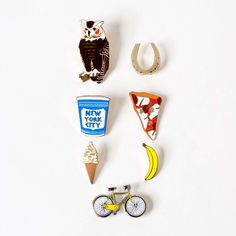 Greenwich Letterpress Enamel Pins from Omoi Zakka Shop.  Good for putting on that new book bag.
