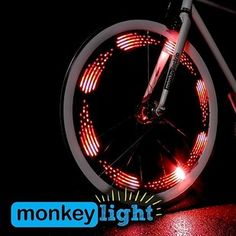 Unique and fun gift idea! The MonkeyLectric Monkey Light bike wheel light attaches to spokes and displays simple, colorful graphics on the spinning bike wheel to light up the night with a highly visible display. Fixed Gear Bikes, Bicycle Spokes, Bicycle Wheel, Spin Bikes, Bmx Bikes, Motorcycles, Bicycle Lights, Bike Light, Nocturne