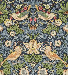 Spirit Fabrics William Morris Kelmscott Navy Strawberry Thief for sale online William Morris Wallpaper, Morris Wallpapers, William Morris Art, Motifs Art Nouveau, Art Nouveau Pattern, Pattern Art, Pattern Paper, Arts And Crafts For Adults, Arts And Crafts House