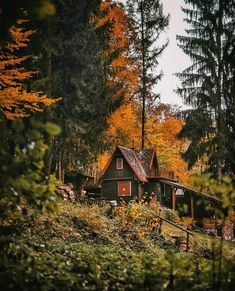 Autumn Photography, Landscape Photography, Cool Photos, Beautiful Pictures, Autumn Scenes, Cabin In The Woods, Autumn Cozy, Fantasy Places, Cabins And Cottages