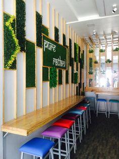 Pinewood Grass grey combo Cafe bakery seating wall design