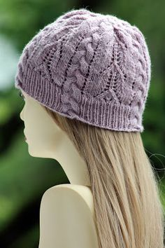Twilight Rose Beanie: made with 150 - 160 yards of sport weight yarn and size US 3 & 4 needles
