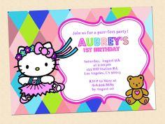 Hello Kitty Birthday Invitation Digital by graphicsmarket on Etsy, $10.00
