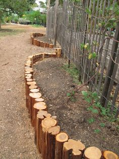 Upright logs used for garden edging